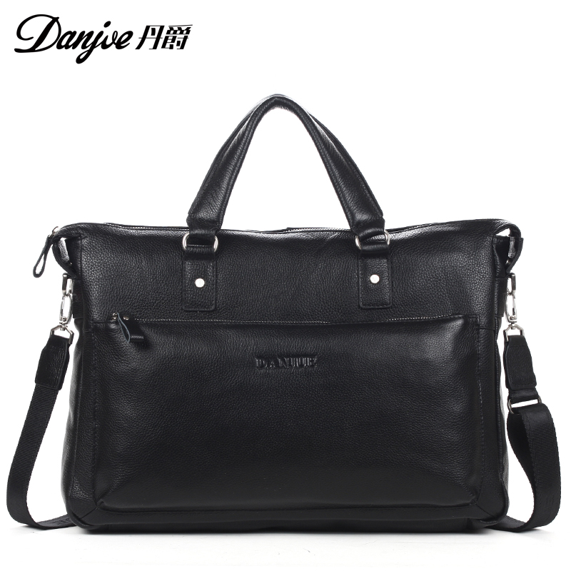 Фотография Fashion Cowhide male Crossbody Bags classics black male attache case 100% genuine leather Messenger Bags Large Handbag Tote Bags