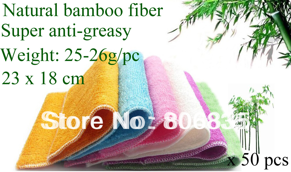 Wholesale high efficient ANTI-GREASY color dish cloth,bamboo fiber washing dish cloth,magic multi-function wipping/cleaning rag