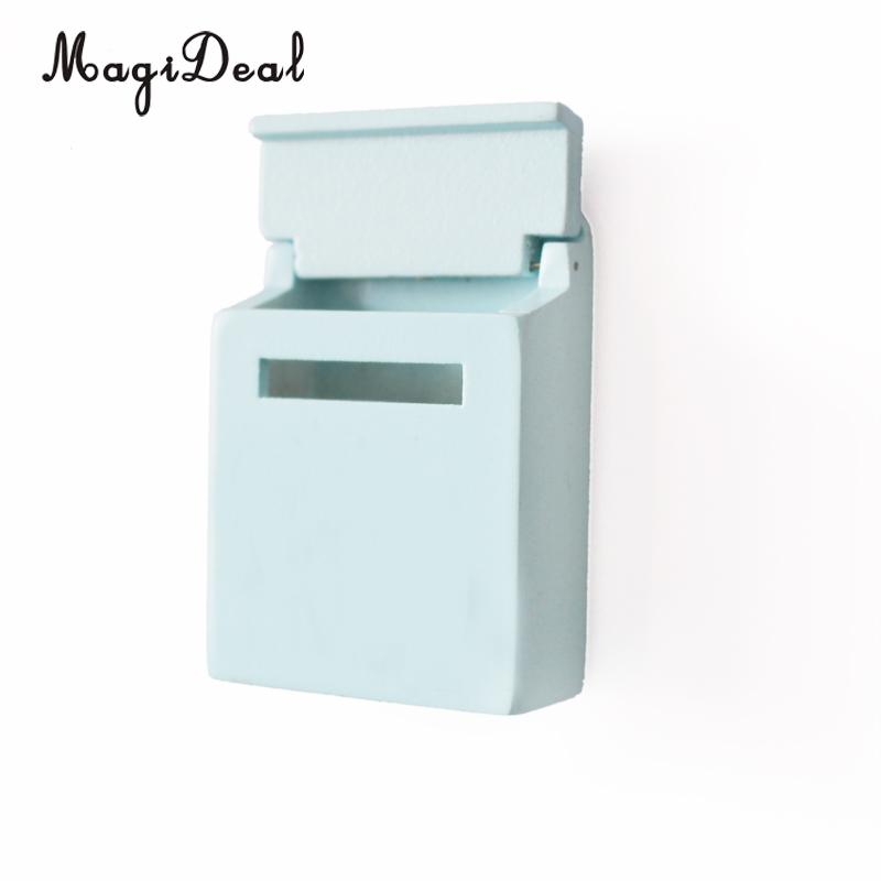 MagiDeal 1Pc 1/12 Scale Wooden Mailbox With Decal Dollhouse Miniature for Fairy Garden Door Decor Kids Furniture Toys 6 Colors