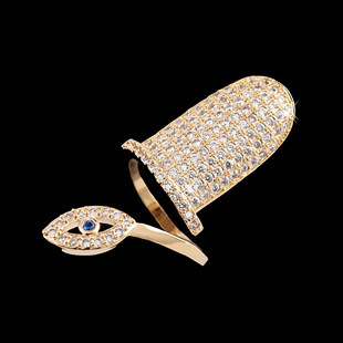 Hot Brand Unique Female Fashion with AAA zircon crystal Fingernail Blue Sapphire The Mysterious Eye Nail Rings for Women Wedding(China (Mainland))