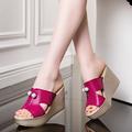 2017 New Summer Genuine Leather Platform Wedges Sandals Women Fashion High Heels Female Summer Shoes Size
