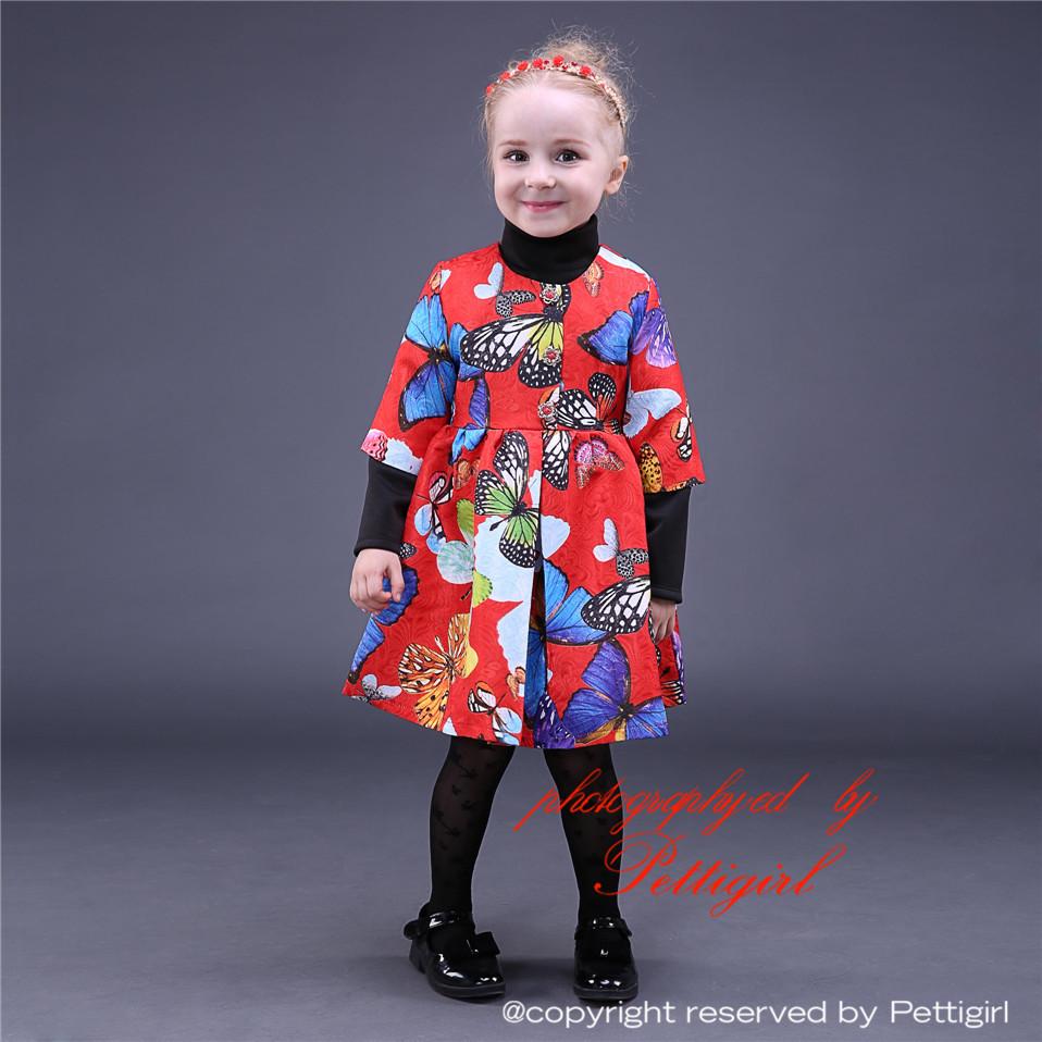 2015 Sweet Girls Party Dresses Butterfly Printed Girls Christmas Dress Retail Children Wear GD80928-5(China (Mainland))