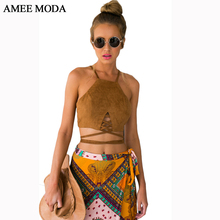 New Faux Suede Halter Cross Hollow 2015 Fashion Boho Bohemian Bandage Women's Sexy Bustier Bralet Cropped Top Vest Camis (China (Mainland))