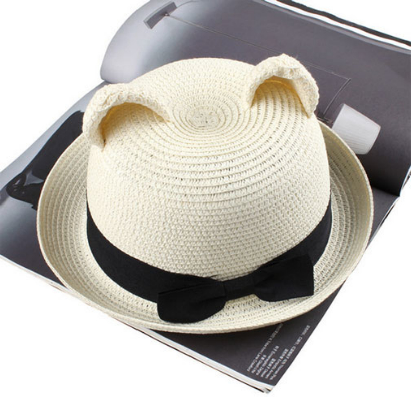 Amazing Lovely Women Cat Ears Straw Sunbonnet Lady Multicolor Caps Summer Straw Hats(China (Mainland))