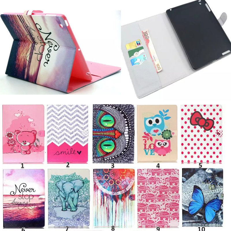 """New PU + silicon back cover Colored Print tablet PC for 9.7"""" Apple iPad 4 3 2 stand holder protective card slot cases(China (Mainland))"""