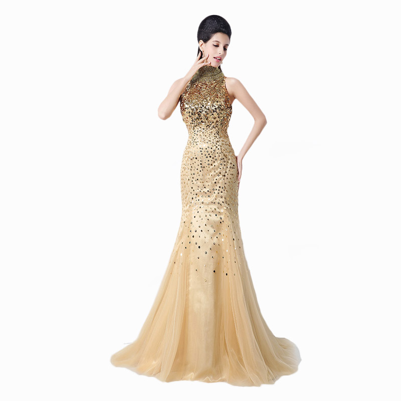 Luxury Gold Sequined arab mermaid dresses formal evening gowns High Neck Backless Long prom dress vestidos de noche largos JS002 - cici fang's store