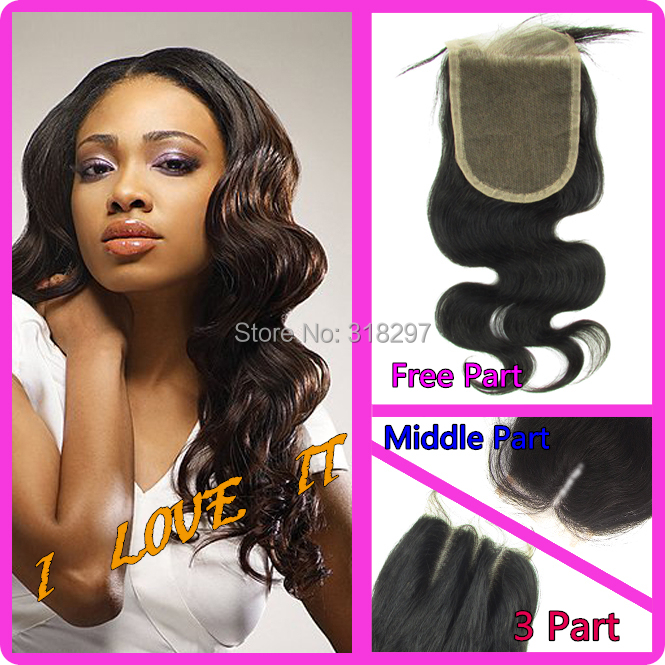 "8A 50% Off Unprocessed Peruvian Virgin Lace Closures Bleached Knots Hair Closure Middle Part Body Wave Top Lace Closure 3.5""x4""(China (Mainland))"