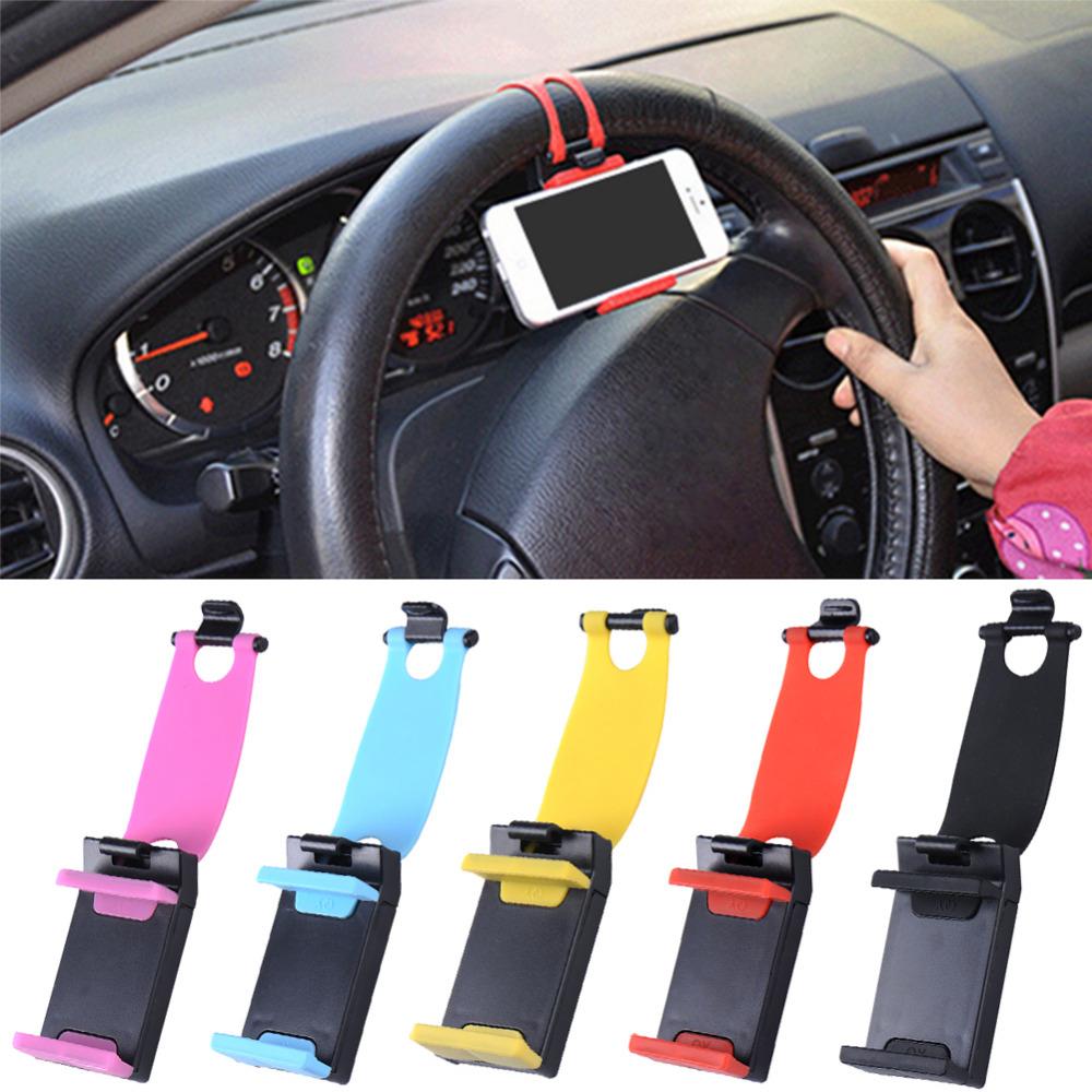 Universal Car Steering Wheel Mobile Phone Holder, Bracket for iPhone Xiaomi Samsung Huawei Meizu GPS Width of suitable 55mm-75mm(China (Mainland))