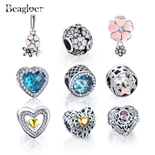 Beagloer 100% 925 Sterling Silver Heart Beads Charms Fit Pandora Bracelet Necklace For Women DIY Wedding Jewelry PSMB0617(China (Mainland))
