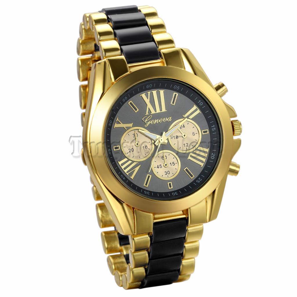 New Men Watch Fashion Geneva Stainless Steel Roman Numerals Quartz Analog WristWatches Gold Case Reloj Hombre(China (Mainland))