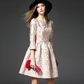 Summer Spring Autumn Jacquard Dress Women Cute A Line Dresses Vestido de festa Ladies Vintage Slash