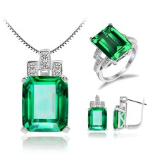Nano Russian Emerald / Blue Sapphire / Pigeon Blood Red Ruby Jewelry Set * Solid 925 Sterling Silver Ring Pendant Earring Clip(China (Mainland))
