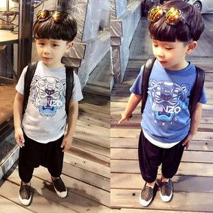 cotton tiger pattern Newdespicable boys clothes girls nova shirts Head Design T shirt Kids Short Sleeve Tops cotton Tees(China (Mainland))