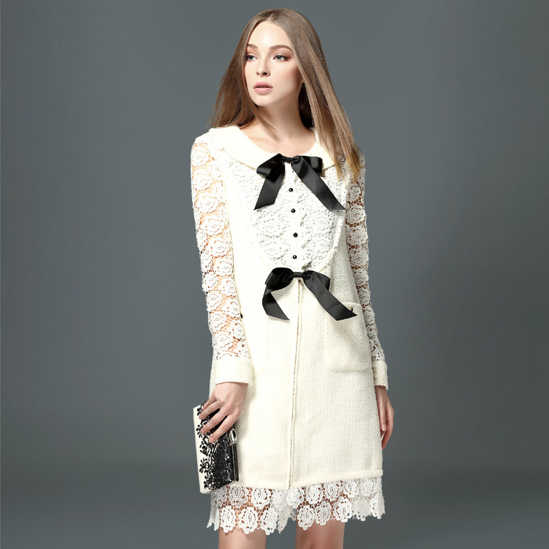 Vestidos Women Dress 2015 Autumn Winter Fashion Runway Long Sleeve Slim Spell Lace White Vintage Wool Dresses High QualityОдежда и ак�е��уары<br><br><br>Aliexpress