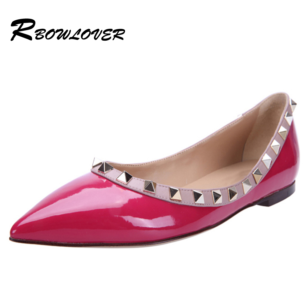 Гаджет  Flat Ballets Shoes Good Quality Genuine Leather Vamp With rivets multi-color 130416b None Обувь