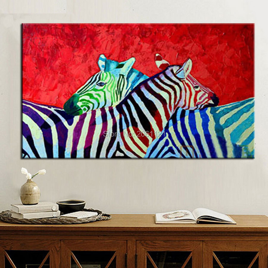 hand painted bright africa amimal canvas painting Zebra family oil painting on canvas living room wall decoration pinto art(China (Mainland))