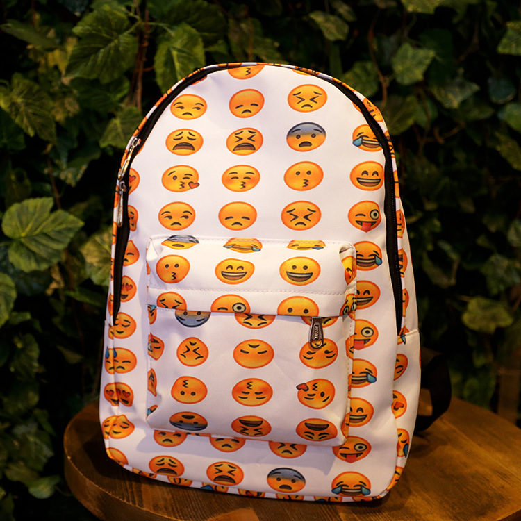 2015 FASHION Priting Canvas Smiley School Bag Casual Children Smile School Bags For Teenagers Women's Mini Smile Book Bag Kids(China (Mainland))
