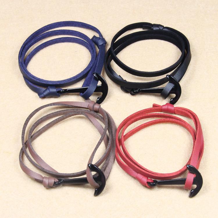 Vintage Charm Bradied Nautical Anchor Bracelet Femme Genuine Leather Rope Wristband Mens Bangles SB001