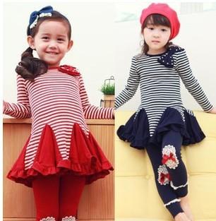 Free shipping 2013 new children dress spell color stripes red, dark blue long-sleeved dress Girls