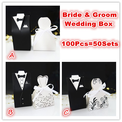 100Pcs Bride and Groom tuxedo dress gown Wedding Favor Candy Gift box ...