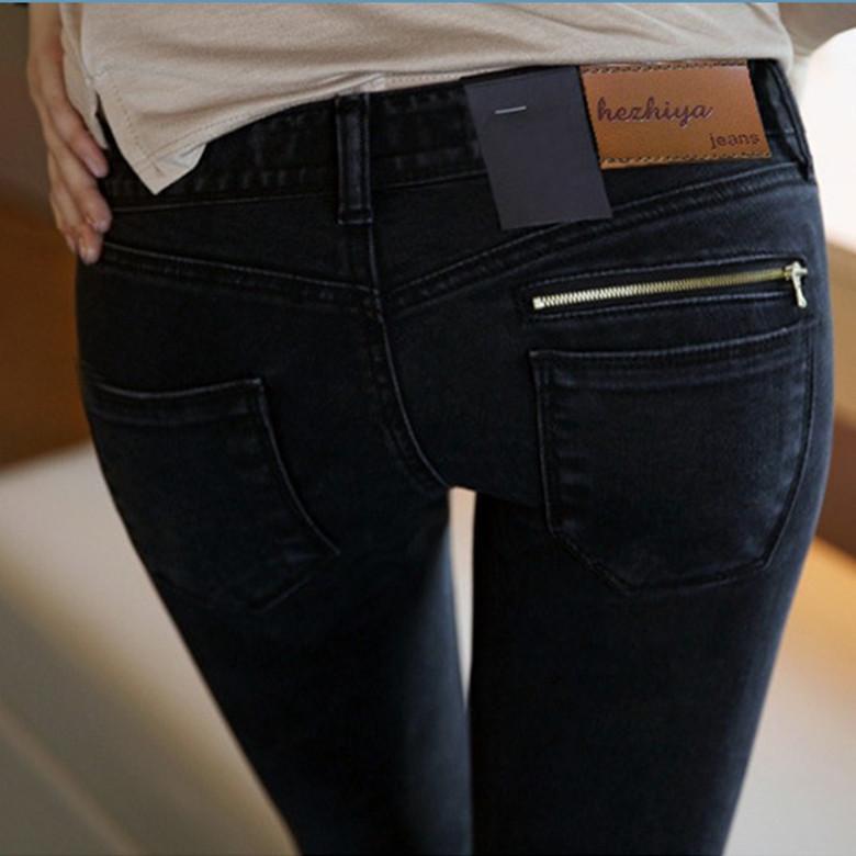 2015 new skinny jeans Lady Jeans Pants Black Low Waist Slim Pencil Pants Denim Jeans Women Trousers Size 25-31 Free Shipping