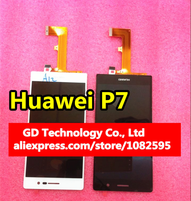Original Huawei Ascend P7 LCD Dispaly With Touch Screen Digitizer Assembly Black / white + Tools Free Shipping