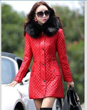 man-made large fur collar women leather jacket winter coats outerwear thick leather coat 2016 new fashion women's clothing (China (Mainland))
