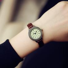 2016 Fashion Classic Vintage Magic Rome Dial Brass Alloy Thin Leather Strap Quartz Wristwatch Watch for Women Ladies Girls
