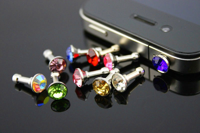 10PCS/LOT 3.5MM Diamond Rhinestone Anti Dust Plug Earphone Plug for iPhone 4 4s 5 5s 6 6s for Samsung Mobile Phone Accessories