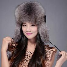 Luxury 060101a Real fox fur hat winter Ushanka/Cossack Bomber cap whole leather fox fur earmuff thick warm(China (Mainland))