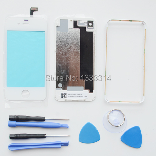 White Digitizer Touch Screen Panel Battery Door Case Middle Frame Repair Kits For iPhone 4S Replacements Parts(China (Mainland))