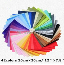 42 colors/lot 30CMX20CM Felt Fabric,Polyester,Non-woven Felt,1 MM Thick,Handmade fabric DIY Not woven Cloth(China (Mainland))