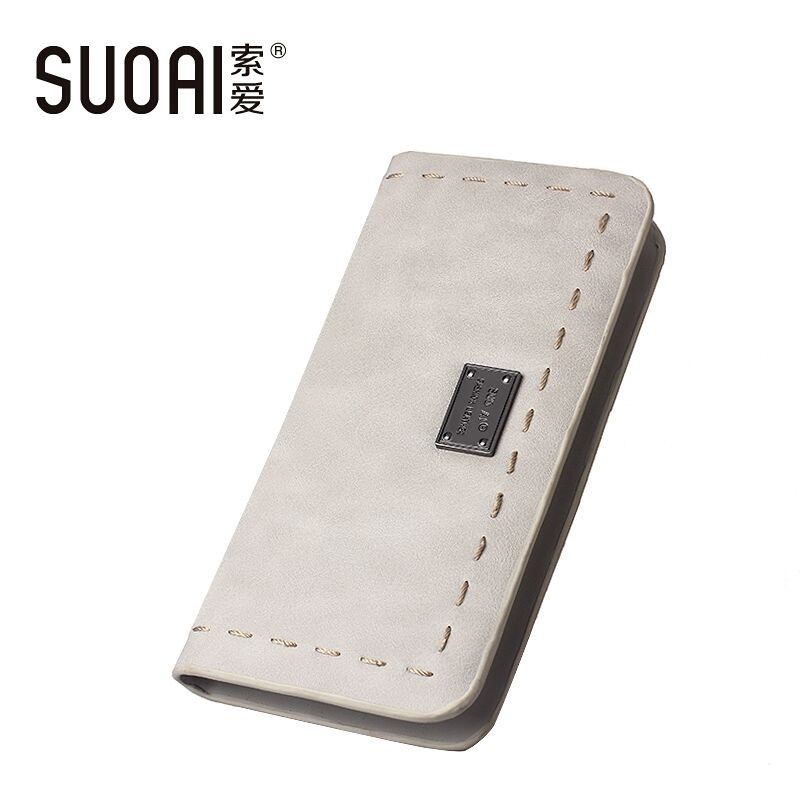 SUOAI Women Wallets 2015New Fashion Long Purse Pu Leather Simple Style Female Long Purse(China (Mainland))