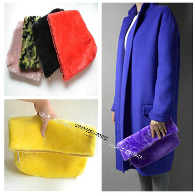 Designer Runway style Faux Fur women clutch hand bag Purse Celebrity love Multi color Free shipping(China (Mainland))