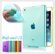 Free Shipping Top Quality Smooth TPU Soft Transparent Case Cover Skin Protector for Apple iPad Mini 1 2 3 Luxury Tablet Bags(China (Mainland))