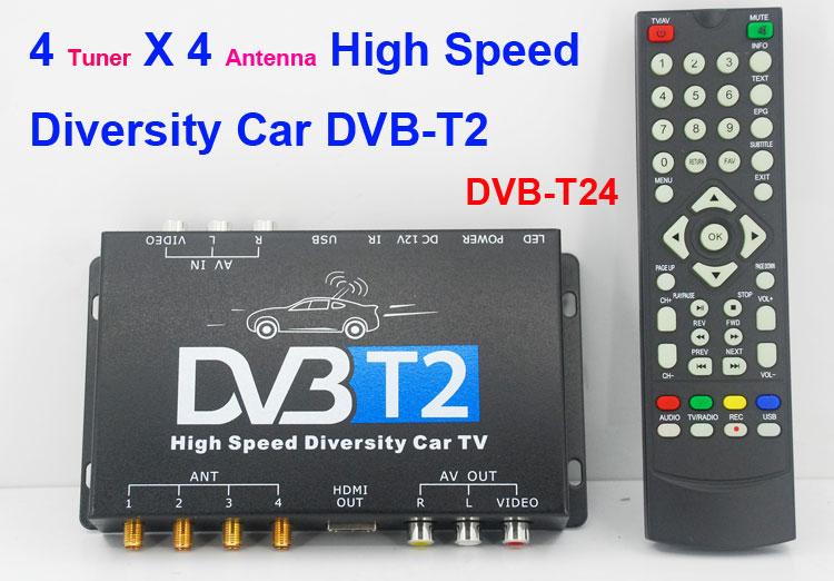 Car DVB-T2 TV Receiver 4 Tuner 4 Antenna USB HDMI HDTV Russia Thailand High Speed(China (Mainland))