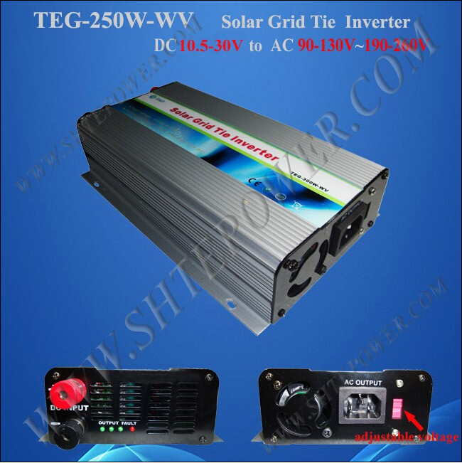 12v dc to 220v ac solar grid tie inverter 250w ,solar power inverter 250w ,pure sine wave solar inverter(China (Mainland))