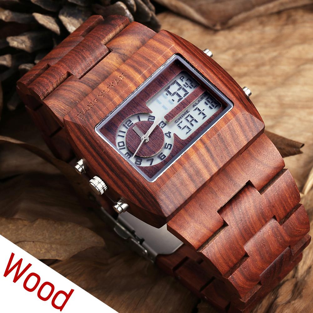 Calendar Analog Digital LED Dual Time Natural Antique Wood Watch Men Luxury Brand Casual Watch Clocks Male reloje hombre Relogio(China (Mainland))