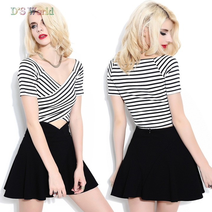 2014 New Summer Women's Sexy Two Piece Set Short Sleeve Tops + Casual Dress 24(China (Mainland))