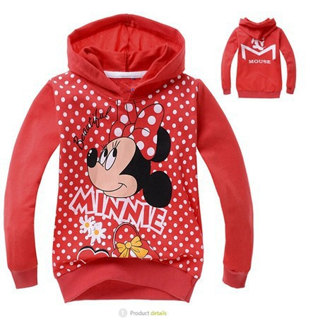 Minnie cartoon girls hoodies Hello kitty dot long sleeve T-shirt casual hooded jacket children's clothing autumn free shipping(China (Mainland))