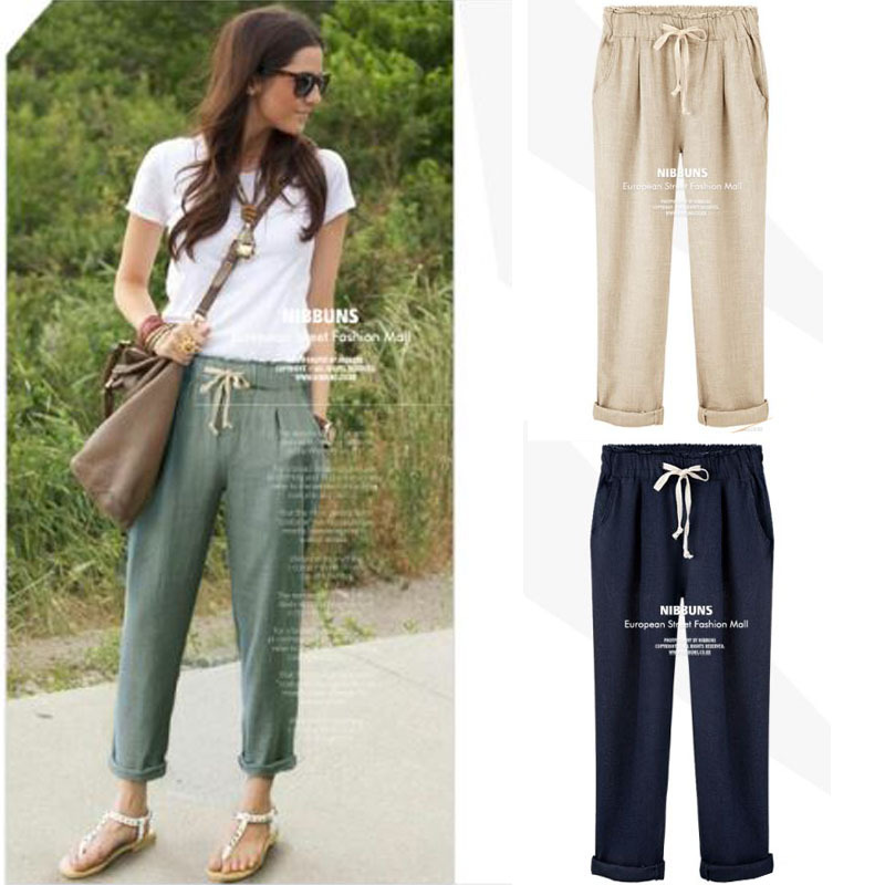 2015 New Girl Pants Women's Cotton Linen Elastic Waist Trousers High Quality Casual Clothing for Female Large Size Harem Pants(China (Mainland))