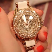 2015 NEW women fashion watch luxury Rose gold crystal diamond bracelet watches Ceramic Strap dress watch women rhinestone watch