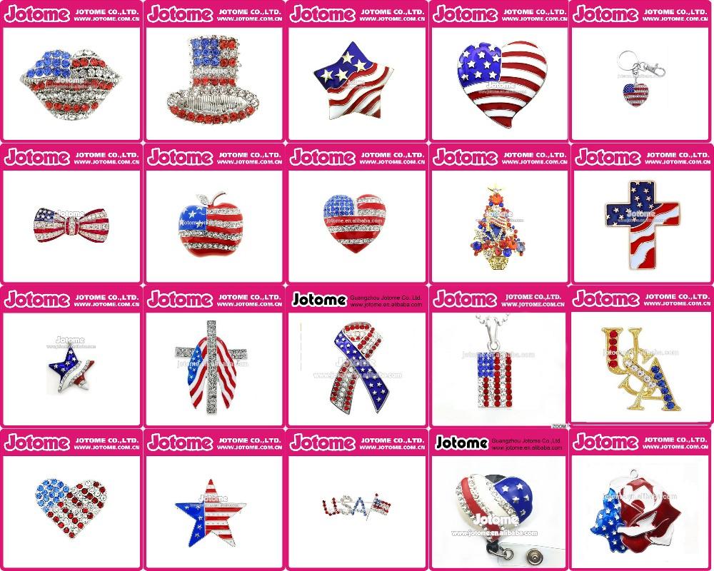 American Flag Themed BroochPendantBuckle