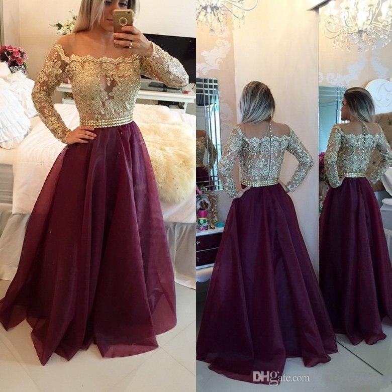 Popular Long Vintage Lace Gold Prom Dresses-Buy Cheap Long Vintage ...