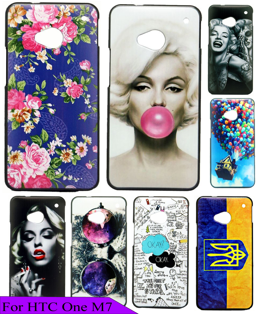 Luxury New Flower Pink Plum Blossom Custom Painted Charming High Quality Hard Plastic Back Phone Cover Case for HTC ONE M7 801E(China (Mainland))
