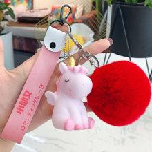 Animal dos desenhos animados Fluffy Rabbit Fur Pom Pom Bonito Pônei Unicórnio Cavalo Chaveiro Boneca Sino Anel Chave Mulheres Bolsa Chave Do Carro chains Bijuterias(China)