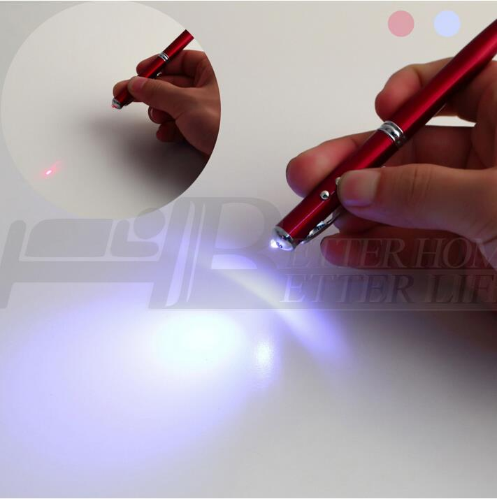 1pcs Accurate 4 in 1 Laser Pointer LED Torch Touch Screen Stylus Ball Pen for iPhone red