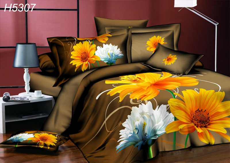 high definition digital 3d bedding sets brown 3d duvet cover bedsheet pillowcase sunflower 3d. Black Bedroom Furniture Sets. Home Design Ideas