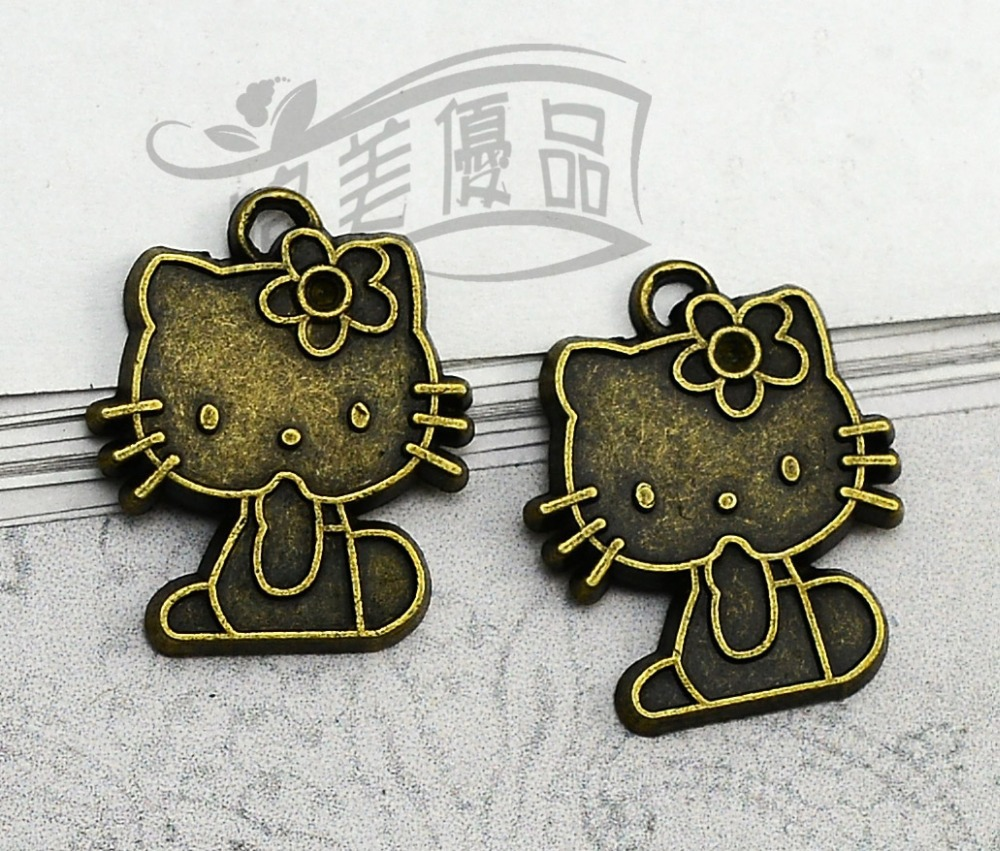 20pcs/lot--21x24mm, Antique bronze Hello Kitty charms,DIY supplies,Jewelry accessories(China (Mainland))