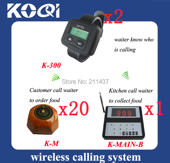 Hot !!! Kitchen pager waiter paging system W 1 Numeric Keyboard and 2 wrist pagers and 20 transmitters K-MAIN-B K-300 K-AB(China (Mainland))